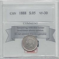 1888 COIN MART GRADED CANADIAN  5 CENT VF 30