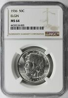 1936 50C ELGIN COMMEMORATIVE HALF DOLLAR NGC MINT STATE 64