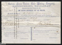 SHARE SCRIP   GOLD MINING. 1865 GOLDEN FLEECE UNITED GOLD MINING CO BALLARAT