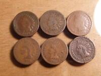 6 INDIAN CENTS 1864 1884 ERA WITH BLEMISHES CIRCULATED CONDITION..SKU10655