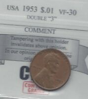 1953 USA LINCOLN WHEAT SMALL ONE CENT DOUBLE 3