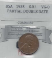 1955 USA LINCOLN WHEAT SMALL ONE CENT MINOR DOUBLING ON LAST 5