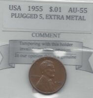 1955 USA LINCOLN WHEAT SMALL ONE CENT PLUGGED 5 LG METAL CUDS