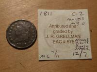 1811 CLASSIC HEAD HALF CENT WITH GRELLMAN CARD WITH ISSUES FINE DETAILS,7622