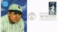 DR JIM STAMPS US BABE RUTH BASEBALL FIRST DAY OF ISSUE COVER 1983 CHICAGO