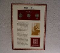 1920 1923 1924 MERCURY DIMES   SUSAN B. ANTHONY  COIN & STAMP PANEL   90 SILVER