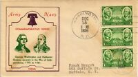 DR JIM STAMPS US ARMY COMMEMORATIVE WASHINGTON GREENE FDC COVER STRIP 1936
