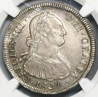 1807 SO NGC AU 50 CHILE SILVER 4 REALES SPAIN COLONY COIN 48K MINTED 16122201D