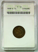 1908 S ANACS F 12 UNITED STATES INDIAN HEAD CENT / PENNY   OLD SMALL HOLDER