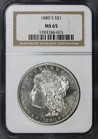 1880 S $1 MORGAN DOLLAR NGC MS65