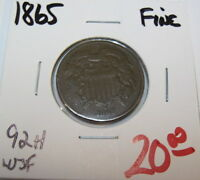 1865 EARLY COPPER TWO CENT COLLECTOR COIN 92H