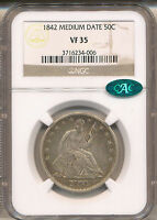 1842 SMALL DATE REV  SEATED LIBERTY HALF VF35 NGC CAC  WB 8