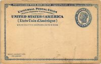 DR JIM STAMPS US POSTAL REPLY CARD TWO CENT LIBERTY TORN