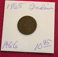 1865 INDIAN HEAD CENT-ALMOST GOOD-GOOD