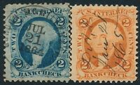 DR JIM STAMPS OLD US REVENUE SCOTT R5 R6 LOT OF 2 BANK CHECK USED NO RESERVE