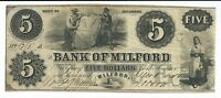 DELAWARE BANK OF MILFORD $5 1854 ISSUED SIGNED G8  OBSOLETE BANK NOTE 1705
