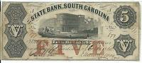 PRESIDENT DIRECTORS STATE BANK SOUTH CAROLINA $5 1860 LOW SERIAL 177 G22A NOTE