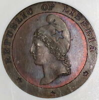 1862 NGC PF 64 LIBERIA LARGE 1 CENT  PROOF COIN POP 1/1 16102804C