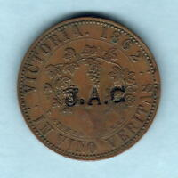 AUSTRALIA TOKEN. STOKES    1862 1D. MELBOURNE VIC.. WITH J.A.C. COUNTERSTAMP. VF
