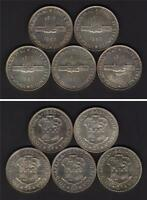 SOUTH AFRICA   SILVER CROWNS. 1960 50TH ANNIV OF UNION X 5 COINS. PROOFLIKE UNC