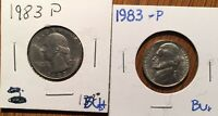 1983 BU JEFFERSON NICKEL AND 1983 BU WASHINGTON QUARTER 2 COINS 5 & 25 CENTS