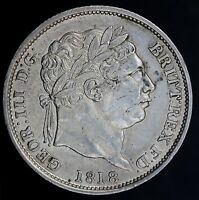 1818  HIGHER 8   GEORGE III SILVER SHILLING COIN   LY HIGH GRADE
