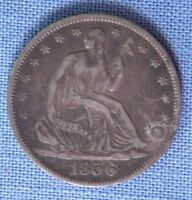 1856 O LIBERTY SEATED SILVER HALF DOLLAR VF WITH DISPLAY CASE
