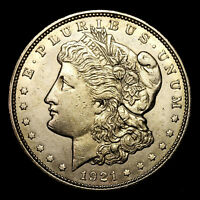1921 D  ABOUT UNCIRCULATED AU  SILVER MORGAN DOLLAR  US OLD COIN W6