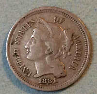 1881 THREE CENT NICKEL NICE