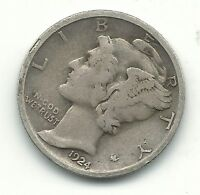 FINE/VERY FINE 1924 P MERCURY SILVER DIME OLD US COIN JUL415
