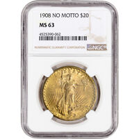 US GOLD $20 SAINT GAUDENS DOUBLE EAGLE   NGC MS63   1908 NO MOTTO