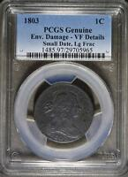 1803 PCGS VF DRAPED BUST LARGE CENT 1C SMALL DATE LARGE FRACTION  OLD COIN