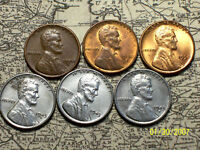1943/50--P,D&S @  6-LINCOLN WHEAT CENTS FROM OLD ROLLS