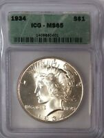 1934 PEACE DOLLAR   ICG MS65 GREAT EYE APPEAL   GEM   BEAUTIFUL WHITE COIN