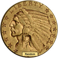 US GOLD $5 INDIAN HEAD HALF EAGLE   XF CONDITION   RANDOM DATE