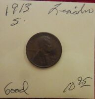 1913 S  LINCOLN WHEAT CENT - GOOD