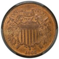 1866 2C TWO CENT PIECE PCGS MINT STATE 65RB CAC
