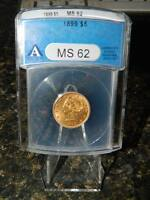 1899 GOLD 5 DOLLAR HALF EAGLE LIBERTY HEAD WITH MOTTO ANACS MS62