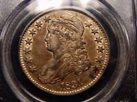 1831 CAPPED BUST HALF DOLLAR PCGS AU50 DEEP GOLDEN TONE WITH LUSTER