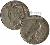 10 COINS - PEACE DOLLARS U.S. 90 SILVER $1 COINS - VG-EXTRA FINE
