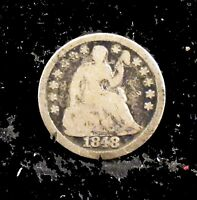 1848  MD  GOOD DETAILS  RIM DAMAGE  SEATED LIBERTY SILVER HALF DIME   HD89
