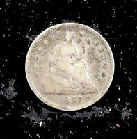 1857 GOOD DETAILS  CLEANED  SEATED LIBERTY SILVER HALF DIME   HD90
