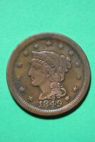 1849 BRAIDED HAIR LARGE CENT EXACT COIN PICTURED FLAT RATE SHIPPING OCE253