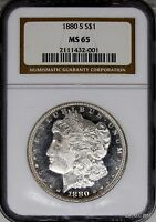 1880 S MORGAN SILVER DOLLAR NGC MS65 SAN FRANSISCO STRONG PROOF LIKE APPEARANCE