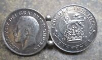 TWO COIN GREAT BRITAIN GEORGE V SILVER SIX PENCE PIN NO RESE