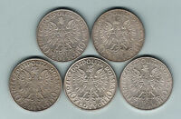 POLAND.  1932 10 ZLOTYCH X 5 COINS.  GVF   GEF..  ALL WITH LUSTRE