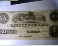 1800'S $20 THE BANK OF NEW ENGLAND AT GOODSPEED'S LANDING CONNECTICUT   J5