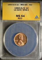 1960 D/D MS64 RD LARGE DATE ERROR LINCOLN CENT DOUBLED MINT MARK RPM3 SHIPS FREE