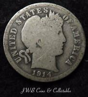 1914 USA SILVER BARBER DIME COIN