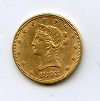 1893 $10 GOLD LIBERTY HEAD EAGLE AU WITH FULL LUSTER